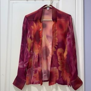 Craig Taylor Shear Silk Sunflower Blouse